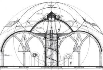 Plan du Chai du Château Romanin : une Cathédrale souterraine