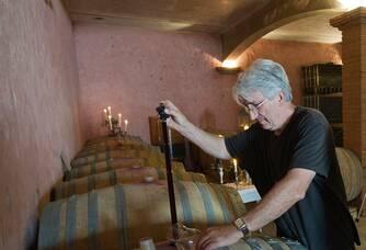 Serge Baux dans sa cave