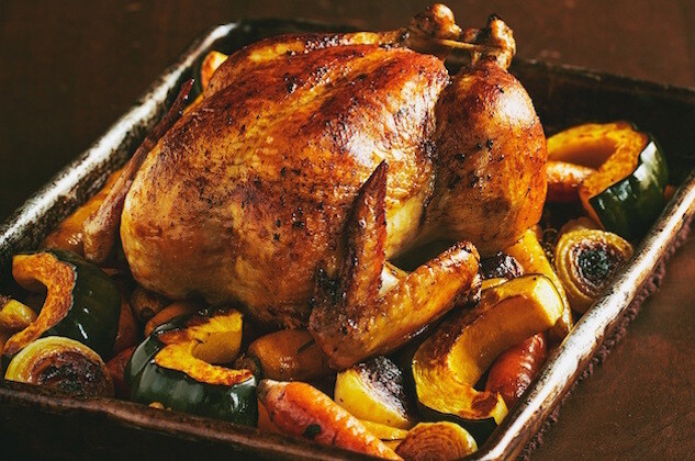 roasted chicken and wine